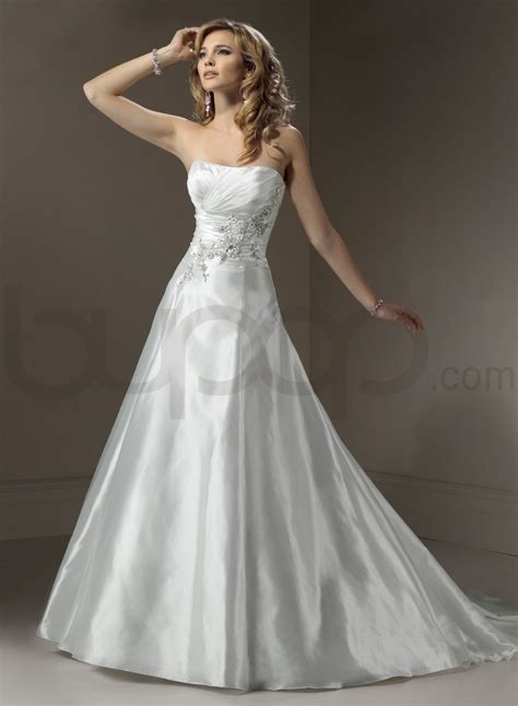 organza a line wedding dress with strapless neckline ipunya
