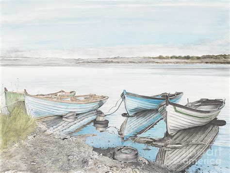 boat mooring galway mooring on loch corrib drawing by renee clifford
