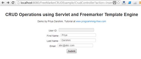 crud operations using servlet and freemarker template