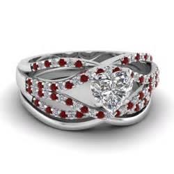 ruby wedding ring set crossover ring fascinating diamonds
