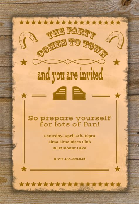 western themed birthday ecards western party free printable party invitation template
