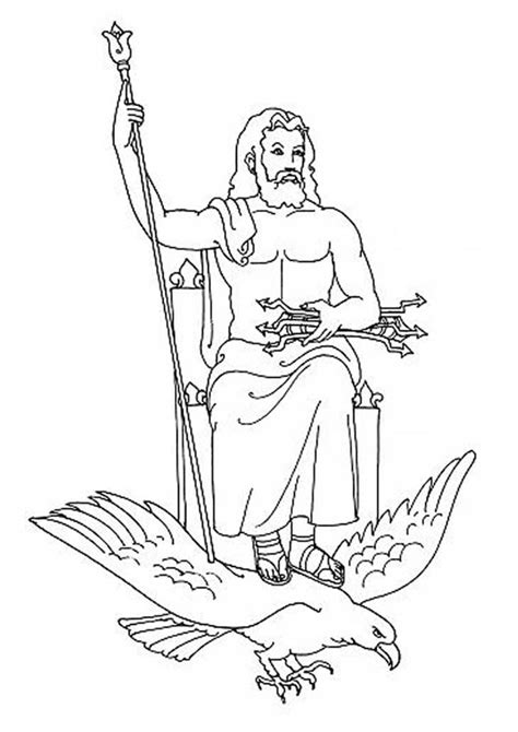 coloring page zeus zeus from gods and goddesses coloring page netart
