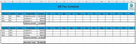Free Monthly Payment Schedule In Excel Templates At Allbusinesstemplates Com Monthly Payment Schedule Template