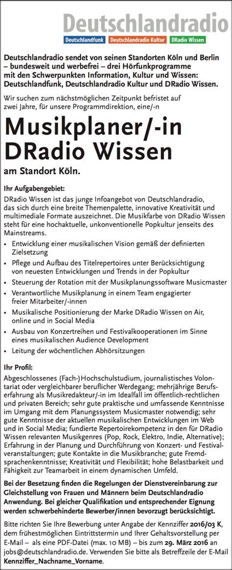 Bewerbung Rotation Deutschlandradio Sucht Musikplaner In Dradio Wissen Radioszene