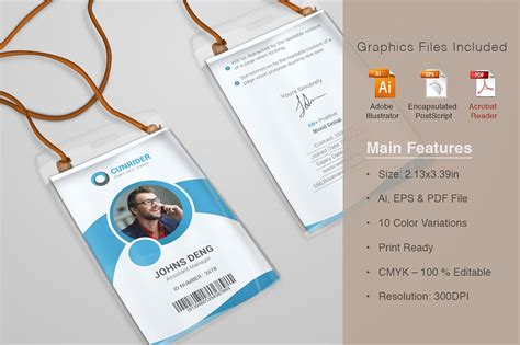 Corporate Id Card Template Free by Corporate Id Card Templates Card Templates Creative Market