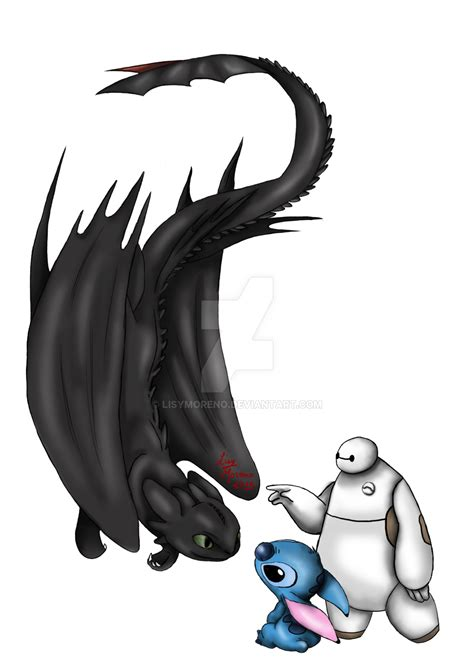 baymax toothless and stich by lisymoreno on deviantart