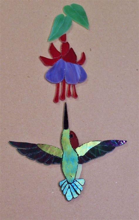 mosaic hummingbird pattern precut stained glass art hummingbird fuchsia kit mosaic