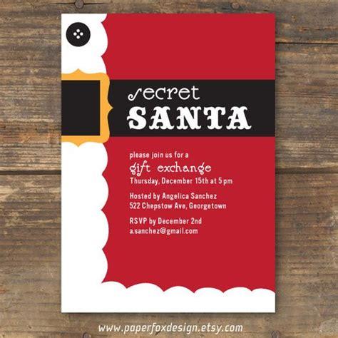 Secret Santa Party Invitation Diy Printable By Paperfoxdesign 12 50 Holiday Party Invites Secret Santa Flyer Templates