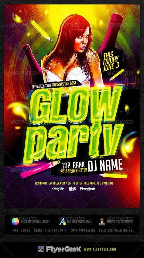Neon Light Party Flyer Download Template Glow Party Flyer Template Psd Flyergeek Graphicriver Neon Flyer Template Free