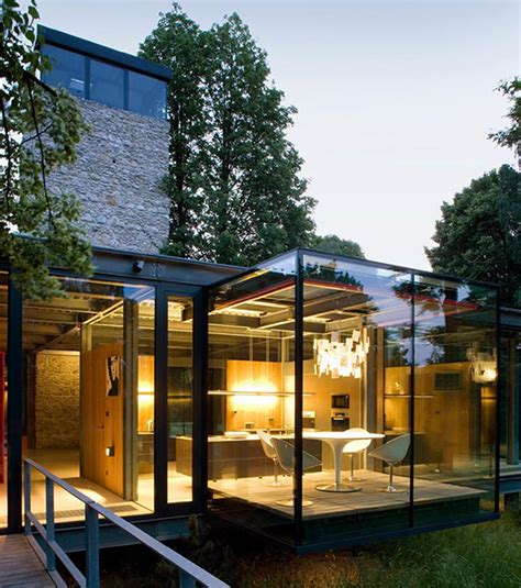 Interior Columns For Homes Contemporary Glass House Architecture Viahouse Com