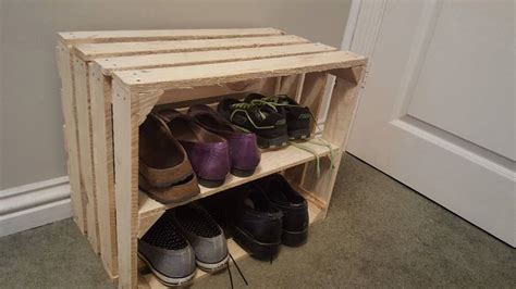 shabby chic wooden shoe rack shelving display by