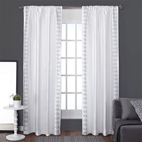 Winter Window Curtains Exclusive Home Striped Embroidery Rod Pocket