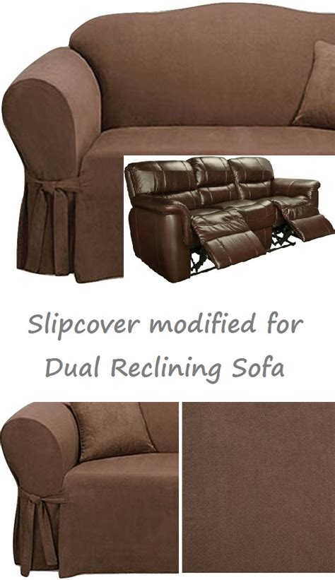 dual reclining sofa slipcover dual reclining sofa slipcover suede chocolate sure fit
