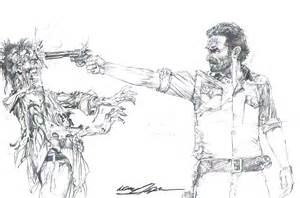 walking dead sheriff rick grimes shoots zombie print signed neal adams inkwell awards