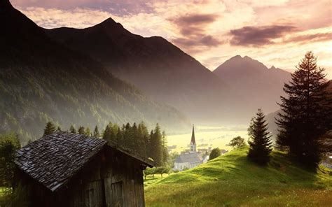 cottages in the mountains nature sky cloud tree mountain summer church cottage hd