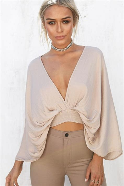 Sleeve Blouse With Plunging Neckline by Khaki Plunging V Neck Sleeve Blouse 028257