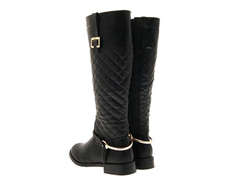 Wide Calf Quilted Boots by Womens Stirup Quilted Wide Calf Boots Knee High Black Size Uk 3 8 Ebay