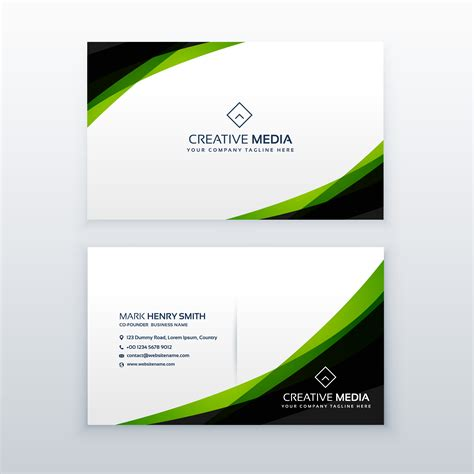 Green Card Template by Clean Simple Green Business Card Design Template