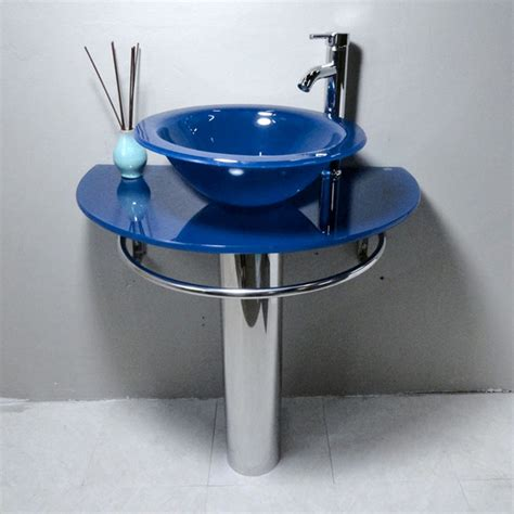 blue bathroom sinks kokols blue vessel sink pedestal bathroom vanity