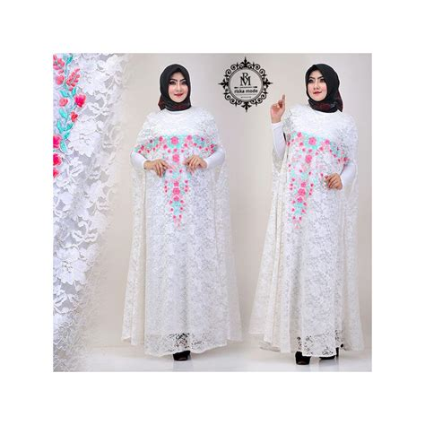 Nisya Dress by Kaftan Nisya White Baju Muslim Gamis Modern