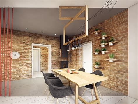 A Stunning Apartment Design Ideas With Colorful Geometric Brick Wall Dining Room