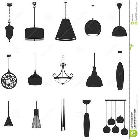 Vintage Light Bulb Chandelier Sets Of Silhouette Lamps 2 Create By Vector Stock Vector