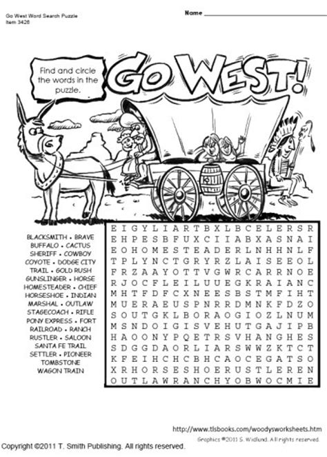 West Search Go West Word Search Puzzle