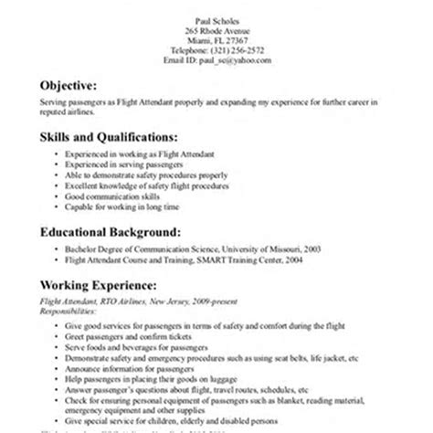 Aviation Operations Specialist Sle Resume by Resume For Flight Attendant Sle 28 Images Sle Resume For Flight Attendant Position