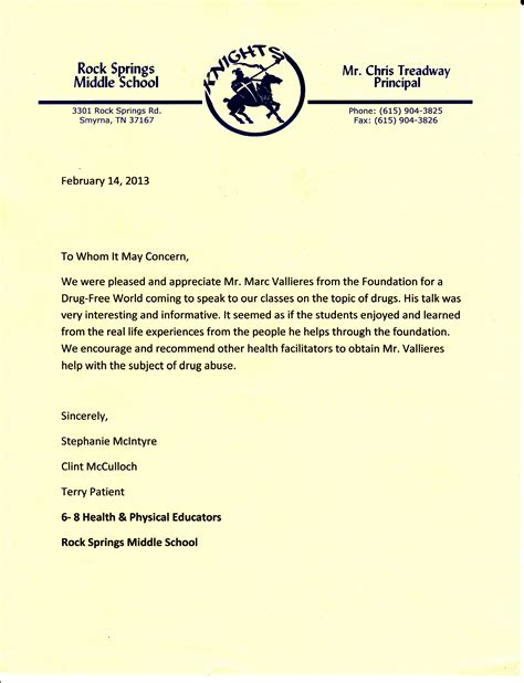 Letter Of Recommendation Middle School Student student recommendation letter sle for middle school