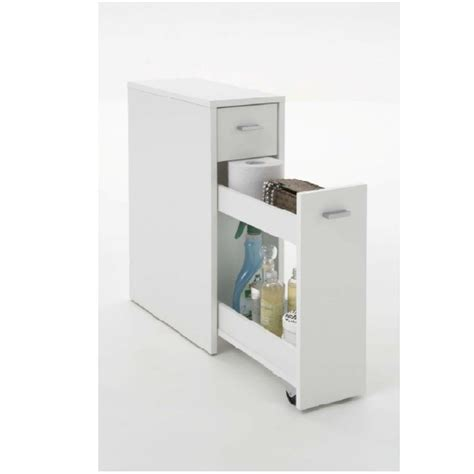 White Bathroom Furniture Storage Denia Bathroom Storage Cabinet In White With Pull Out