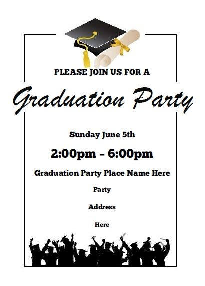 graduation invitation templates free word graduation invitations free printable