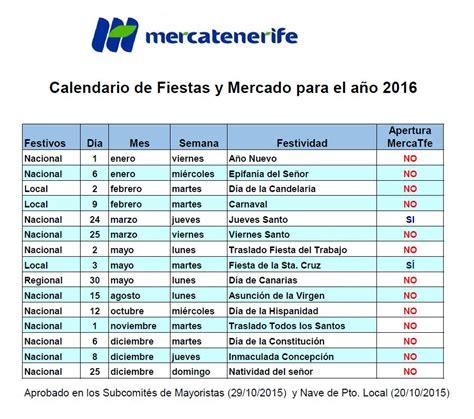 calendario mercado famila 2016 aprobado el calendario comercial de 2016 de mercatenerife