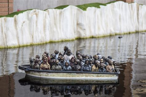 dismaland refugee boat banksy s dismaland moves to france to provide shelter for
