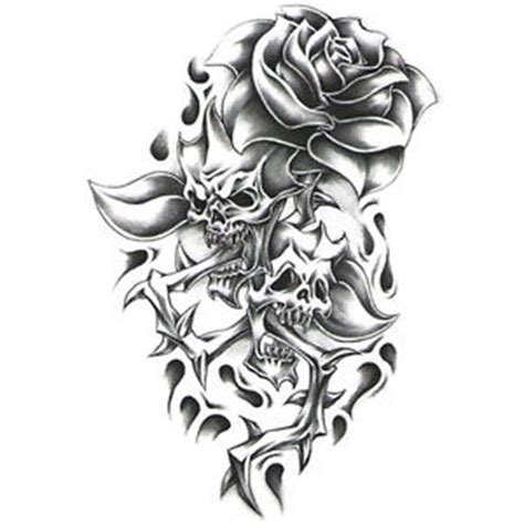 quot urban black amp white quot temporary tattoo skulls w rose