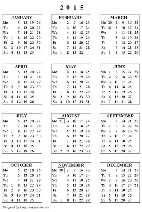 2015 calendar printable one page new calendar template site