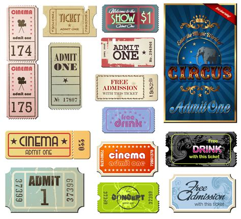 printable vintage tickets vintage movie tickets labels