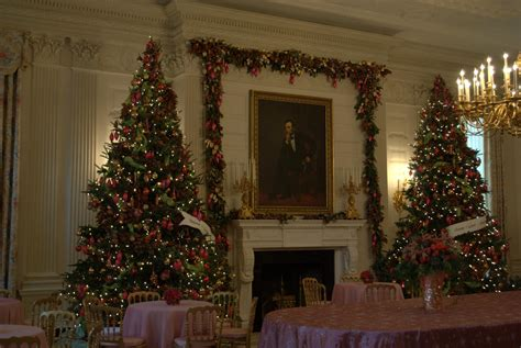 christmas trees in the state dining room at the white
