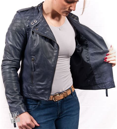 New Jaket Pria Bomber Blue Navy X U A womens navy blue leather jacket jackets review