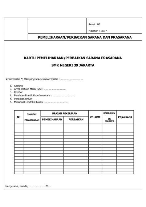 format laporan sarana prasarana sekolah laporan intruksi kerja