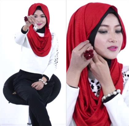 tutorial hijab menggunakan aksesoris anting tutorial hijab dengan anting pakai jilbab instan 5