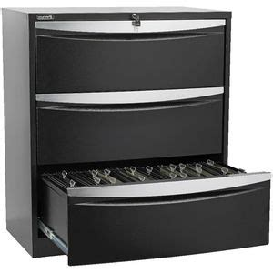 Stilford Filing Cabinet Stilford 3 Drawer Lateral Filing Cabinet Black Officeworks