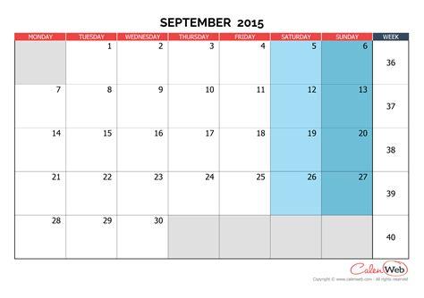 Calendar 2015 September Uk Monthly Calendar Month Of September 2015 The Week Starts
