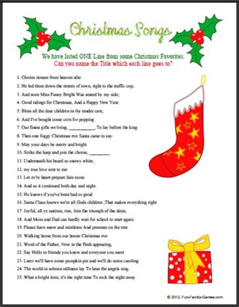 picture christmas song quiz worksheets for adults