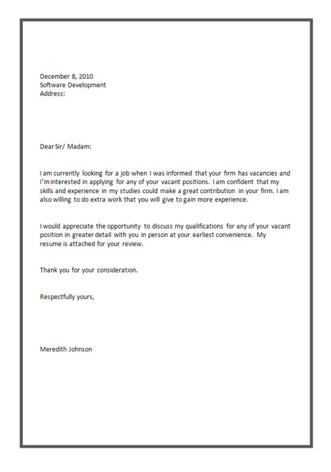 application cover letter exles sle cover letter for application awesome cover