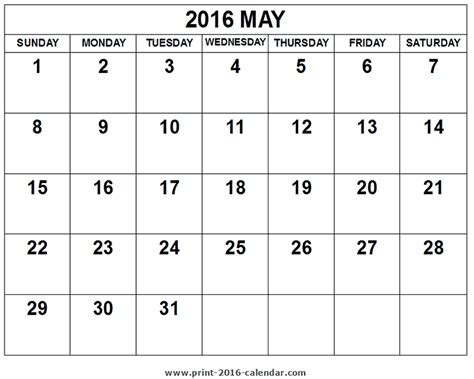 printable calendar template may 2016 2016 may calendar