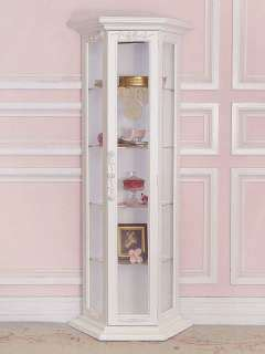 curio cabinet with glass shelves mirrored back and glass