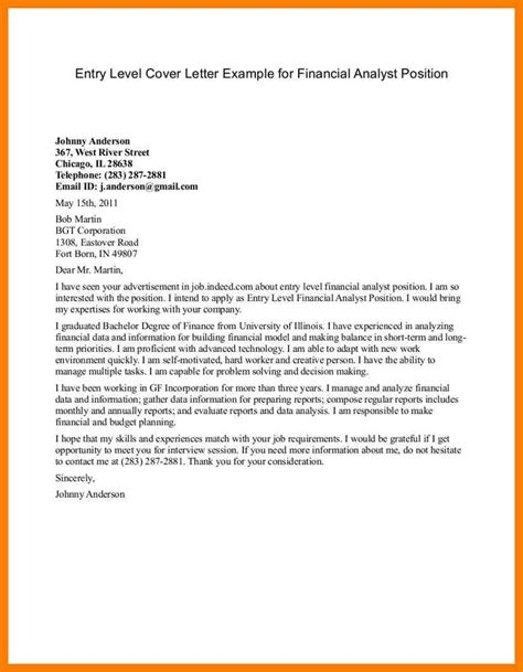cover letter exles for resume entry level 13 financial analyst cover letter no experience xavierax