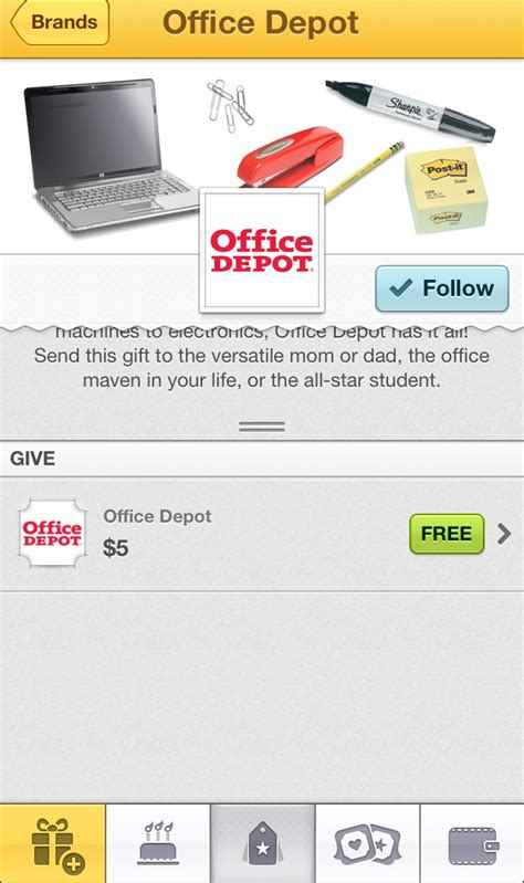 Can I Use Office Depot Gift Card At Officemax - send your friends a free 5 office depot gift card from wrapp who said nothing in
