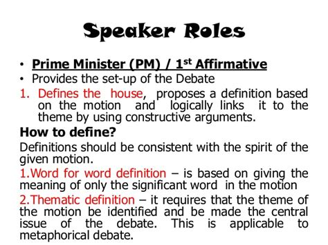 speaker of the house definition introduction to parliamentary debate