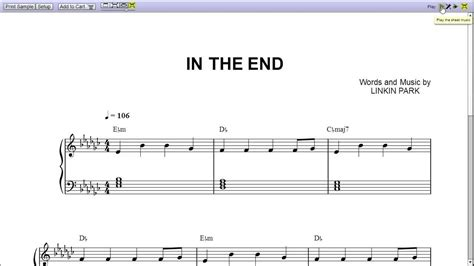 testo numb linkin park quot in the end quot by linkin park piano sheet teaser